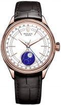 Мужские классические часы Rolex Cellini 50 535 в розовом золоте с фазами Луны, светлый циферблат, на кожаном ремешке.