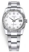 Женские часы Rolex Datejust 115 234 в стальном корпусе, рифленый безель, белый циферблат с бриллиантовыми индексами и арабскими цифрами, браслет oyster.