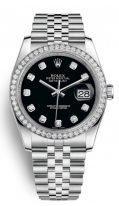 Женские классические часы Rolex Datejust- 116 244 в стальном корпусе с бриллиантовым рантом из белого золота, бриллиантовыми индексами и браслетом Jubilee
