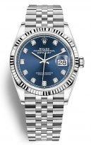Женские часы Rolex Datejust 126 234 blue в стальном корпусе с рифленым рантом, синий циферблат с бриллиантовыми индексами, на браслете Jubilee.
