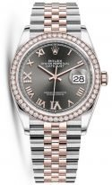 Женские часы Rolex Datejust 126 281 RBR биколорный корпус (сталь и розовое золото), серый циферблат, на биколорном браслете Jubilee.