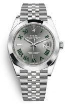 Мужские/женские часы Rolex Datejust 126 334 стальной корпус с гладким рантом, серый циферблат с римскими цифрами, на браслете Jubilee.