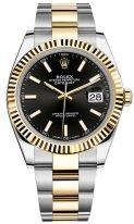 Мужские/женские часы Rolex Datejust 126 333 black в биколорном корпусе (сталь/желтое золото), черный циферблат, биколорный браслет Oyster.