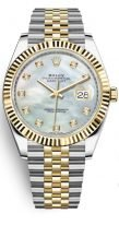 Мужские/женские часы Rolex Datejust- 126 333 pearl в биколорном корпусе с перламутровым циферблатом и бриллиантовыми индексами, на браслете Jubilee