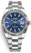 Мужские/женские часы Rolex Datejust 126 334 blue в стальном корпусе с рантом из белого золота, синий циферблат, на браслете Oyster.