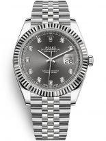 Мужские/женские часы Rolex Datejust 126 334 grey в стальном корпусе, с серым циферблатом с бриллиантовыми индексами, на браслете Jubilee.