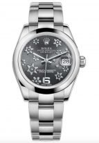Женские часы Rolex Datejust 178 240 grey, стальной корпус с гладким рантом, цветочный узор на циферблате, стальной браслет Oyster.