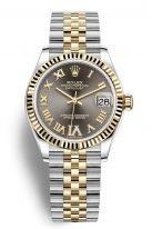 Женские часы Rolex Datejust 278 273 grey в биколорном корпусе (сталь с желтым золотом), серый циферблат с бриллиантовой VI, на биколорном браслете Jubilee.