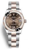 Женские часы Rolex Datejust 278 341 RBR в биколорном корпусе (сталь/розовое золото), шоколадный циферблат, биколорный браслет Oyster.