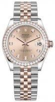 Женские часы Rolex Datejust 278 381 RBR в биколорном корпусе (сталь и розовое золото) с бриллиантовым рантом, циферблат rose с бриллиантовыми индексами, на биколорном браслете Jubilee.