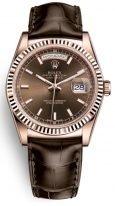 Мужские/женские часы Rolex Day-Date -118 135 в розовом золоте с коричневым циферблатом на коричневом браслете