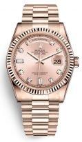 Женские/мужские часы Rolex Day Date 128 235 в розовом золоте, циферблат rose с бриллиантовыми часовыми индексами на браслете President.