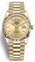 Мужские/женские часы Rolex Day Date 128 238 champagne в корпусе из желтого золота, циферблат цвета шампань, на золотом браслете President.