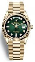 Мужские/женские часы Rolex Day Date 128 238 green в желтом золоте, зеленый циферблат с бриллиантовыми часовыми индексами, на браслете President.