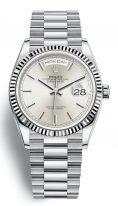 Женские/мужские часы Rolex Day Date 128 239 в белом золоте, серебристый циферблат, браслет President из белого золота.