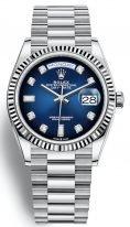 Женские/мужские часы Rolex Day Date 128 239 blue в белом золоте, на синем циферблате бриллиантовые индексы, золотой браслет President.