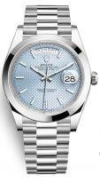 Мужские/женские часы Rolex Day Date 228 206 в платиновом корпусе, голубой циферблат с бриллиантовыми индексами, на браслете President.