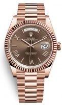 Часы унисекс (женские/мужские) Rolex Day-Date -228 235 в розовом золоте с коричневым циферблатом на браслете President