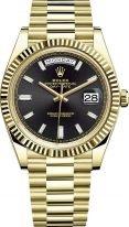 Мужские/женские часы Rolex Day Date 228 238 black в желтом золоте, черный циферблат с багетными метками, на золотом браслете President.