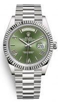 Часы унисекс (женские/мужские) Rolex Day-Date -228 239 из белого золота с зеленым циферблатом на браслете President