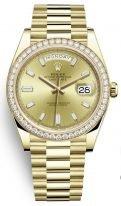Женские часы Rolex Day-Date -228 348 в желтом золоте с бриллиантовым рантом на браслете President