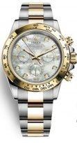 Женские спортивные часы Rolex Daytona 116 503 pearl хронограф, биколорный корпус (сталь/желтое золото) с перламутровым циферблатом и бриллиантовыми индексами, биколорный браслет Oyster.