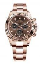 Мужские/женские спортивные часы Rolex Daytona 116 505 хронограф, в розовом золоте с шоколадным циферблатом, на браслете Oyster из розового золота.