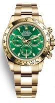 Мужские/женские часы Rolex Daytona- 116 508 в желтом золоте с зеленым циферблатом на браслете Oyster.