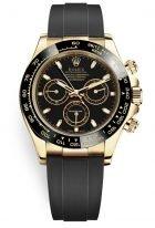 Мужские спортивные часы Rolex Daytona 116 518LN хронограф, в желтом золоте с черным циферблатом, на каучуковом ремешке.