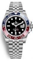 Мужские/женские спортивные часы Rolex GMT Master II 126 710 BLRO в стальном корпусе со временем второго часового пояса, черный циферблат, на браслете Jubilee.