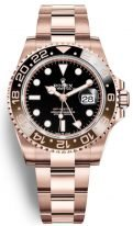 Мужские/женские спортивные часы Rolex GMT Master II 126 715 CHNR в розовом золоте со временем второго часового пояса, черный циферблат, на браслете Oyster.