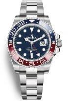 Мужские/женские спортивные часы Rolex GMT Master II 126 719 BLRO в белом золоте, с функцией второго часового пояса, синий циферблат, на браслете Oyster.