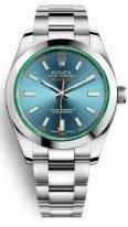 Мужские наручные часы Rolex Milgauss- 116 400 GV антимагнитные, в стальном корпусе с синим циферблатом, на браслете Oyster.