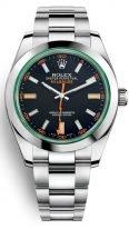 Мужские наручные часы Rolex Milgauss- 116 400 GV black антимагнитные, в стальном корпусе с черным циферблатом на браслете Oyster.