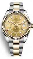 Мужские наручные часы Rolex Sky-Dweller- 326 933 с годовым календарем в биколорном корпусе (сталь/желтое золото) с золотистым циферблатом на браслете Oyster.
