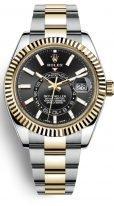 Мужские наручные часы Rolex Sky-Dweller- 326 933 black с годовым календарем в биколорном корпусе (сталь/желтое золото), с темным циферблатом и браслетом Oyster.