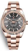 Мужские наручные часы Rolex Sky-Dweller- 326 935 с годовым календарем в розовом золоте с темным циферблатом на браслете из розового золота Oyster
