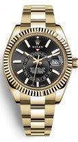 Мужские наручные часы Rolex Sky-Dweller- 326 938 с годовым календарем в желтом золоте с темным циферблатом, на браслете Oyster.