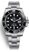 Мужские/женские наручные спортивные часы Rolex Submarine- 116 610LN в стальном корпусе с датой, с черным циферблатом на стальном браслете Oyster.