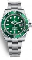 Мужские/женские спортивные наручные часы Rolex Submarine- 116 610LV в стальном корпусе с зеленым циферблатом, стальной браслет Oyster.