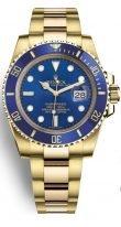 Мужские/женские спортивные наручные часы Rolex Submarine- 116 618LB в желтом золоте с синим циферблатом на браслете Oyster.