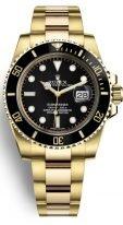 Мужские/женские спортивные часы Rolex Submarine- 116 618LN в желтом золоте с черным циферблатом на браслете Oyster из желтого золота.