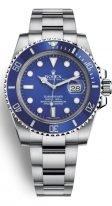 Мужские/женские спортивные наручные часы Rolex Submarine- 116 619LB в белом золоте с синим циферблатом на браслете Oyster.