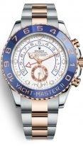 Мужские спортивные часы Rolex Yacht Master 116 681 для яхтсменов в биколорном корпусе (сталь/розовое золото) с синим рантом, белый циферблат, на браслете Oyster.