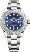 Мужские/женские спортивные часы Rolex Yacht Master 126 622 blue, стальной корпус с платиновым безелем, синий циферблат, стальной браслет Oyster.