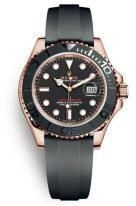 Мужские/женские спортивные часы Rolex Yacht Master 126 655 в розовом золоте с черным циферблатом, на каучуковом браслете.
