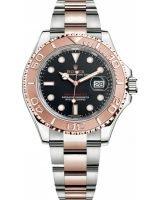 Мужские/женские спортивные часы Rolex Yacht Master 268 621 в биколорном корпусе (сталь/розовое золото) с черным циферблатом на браслете Oyster.