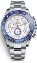 Мужские спортивные часы Rolex Yacht Master 116 680 для яхтсменов в стальном корпусе с синим рантом, хронограф, белый циферблат, на браслете Oyster.