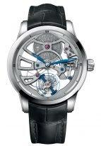 Мужские наручные часы Ulysse Nardin Classico-1700-129 с турбийоном в белом золоте, на серебристом скелетированном циферблате каретка турбийона и вороненные стрелки, черный кроко ремешок.