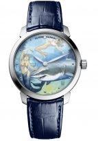 Мужские наручные часы Ulysse Nardin Classico-3203-136LE-2/MANARA.09 в стальном корпусе, на уникальном эмалевом циферблате рисунок итальянского художника Манары, графическая история любви русалки к девушке, синяя кожа кроко.